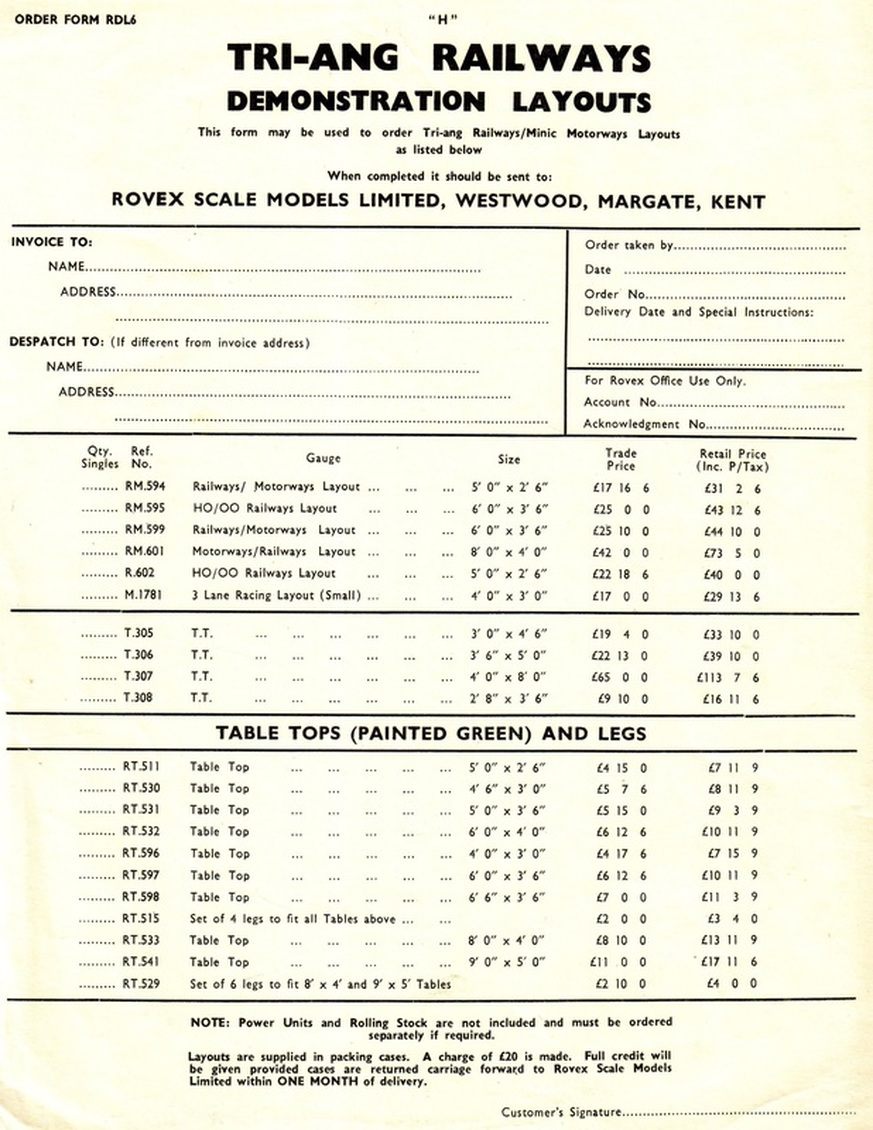 1964 Triang RailwaysMinic Motorways Demonstration Layouts Tri – Order Form Layout